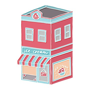 Little Ice Cream Parlour - hand-drawn and digitally coloured
